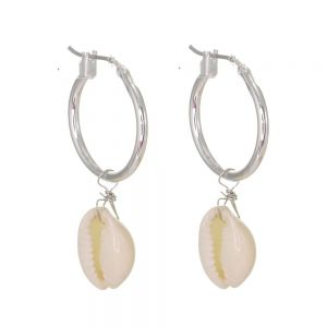 Gorgeous Fashion Jewellery: Silver Hoops with Cream Cowrie Shells (Full Length 4cm) (M173)