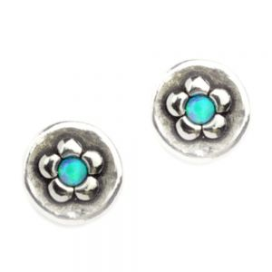 Aviv Sterling Silver Round Daisy Studs With Opal