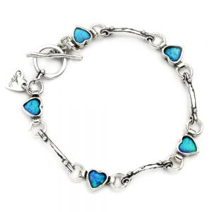 Aviv Opal Heart and sterling Silver Bead Bracelet
