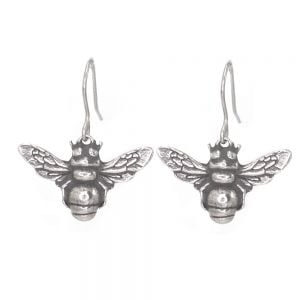 St Justin Pewter Jewellery: Beautiful Bumblebee Drop Earrings in Pewter [Wing Span 2.5cm] (SJ5)