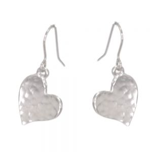 St Justin Pewter Jewellery: Beautiful Hammered Heart Drop Earrings in Pewter [1.5cm x 1.5cm] (SJ3)