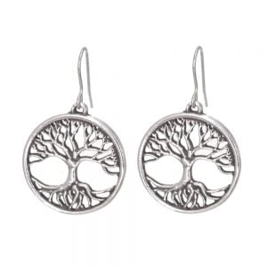 St Justin Pewter Jewellery: Beautiful Openwork Tree of Life Drop Earrings in Pewter [2.5cm x 2.5cm] (SJ1)