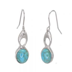 St Justin Pewter Jewellery: Beautiful 3cm Drop Earrings with Woven Celtic Knot and Turquoise (SJ8)