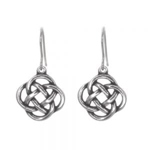 St Justin Pewter Jewellery: Beautiful 3cm Drop Earrings with Woven Celtic Knotwork Design in Pewter (SJ12)