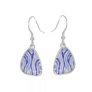 St Justin Sterling Silver Jewellery: Light and Dark Blue Rippled 'Trig' Enamelled Drop Earrings (34mm) (SJ17)