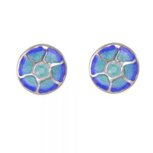 St Justin Sterling Silver Jewellery: Blue and Green Jellyfish 'Glas Mor Morgowles' Enamelled Stud Earrings (11mm) (SJ16)