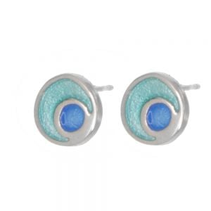 St Justin Sterling Silver Jewellery: Blue and Green Crescent and Circle Glas Mor Lagoon Enamelled Stud Earrings (10mm) (SJ13)