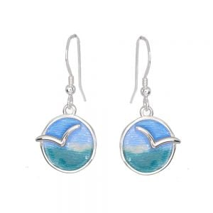 St Justin Sterling Silver Jewellery: Green and Blue Seagull Motif Glas Mor 'Mas Dhe Mor' Enamelled Drop Earrings (32mm) (SJ18)