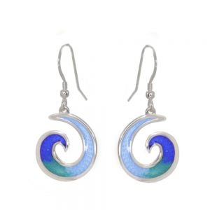 St Justin Sterling Silver Jewellery: Blue and Green Spiral Wave 'Glas Mor Mordardha' Enamelled Drop Earrings (39mm) (SJ15)