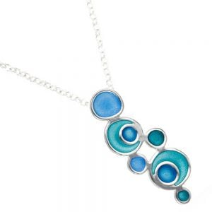 St Justin Sterling Silver Jewellery: Blue and Green Glas Mor Lagoon Enamelled Pendant (38mm) (SJ25)