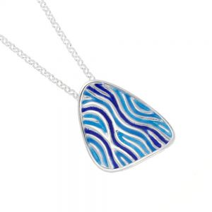 St Justin Sterling Silver Jewellery: Blue and Green Ripples Design Glas Mor 'Trig' Enamelled Pendant (27mm) (SJ22)
