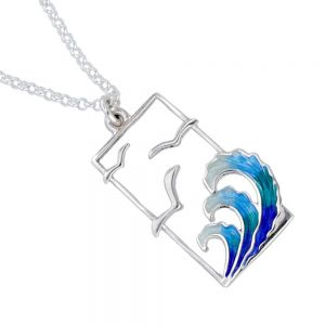 St Justin Sterling Silver Jewellery: Blue and Green Seagull and Waves Design Glas Mor 'Golanes' Enamelled Pendant (29mm) (SJ24)