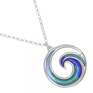 St Justin Sterling Silver Jewellery: Blue and Green Spiral Wave Design Glas Mor 'Mordardha ' Enamelled Pendant (26mm) (SJ20)