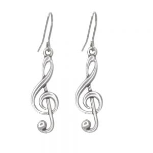St Justin Handmade Pewter Jewellery: Musical Note Treble Clef Dangly Earrings (50mm Drops) (SJ41)