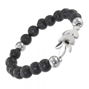 Stainless Steel Jewellery: Natural Black Lava Bead Bracelet with Silver Leaf Design