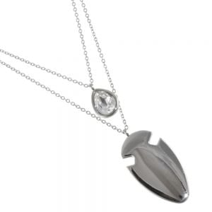 Stainless Steel Jewellery: Double Layered Chain Necklace with Crystal Teardrop and Smooth Arrowhead Pendants