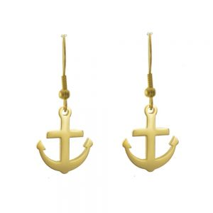 Stainless Steel Jewellery: Gold Tone Anchor Design Drop Earrings