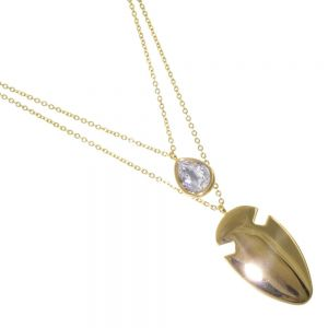 Stainless Steel Jewellery: Gold Double Layered Chain Necklace with Crystal Teardrop and Smooth Arrowhead Pendants