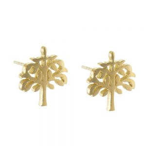 Stainless Steel Collection: Small Gold Tone Tree of Life Stud Earrings