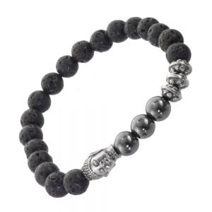 Black Stainless Steel Jewellery: Stretch Bracelet with Lava Beads and Buddha Design