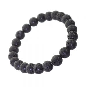Simple Fashion Jewellery: Stretch Bracelet with Textured Black Lava Beads