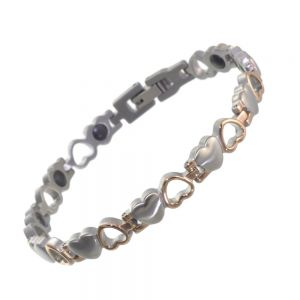 Stainless Steel Jewellery Collection: Rose Gold and Silver Contrasting Heart Motif Bracelet (U73)