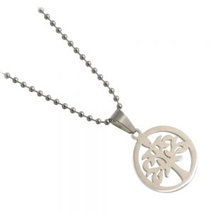 Contemporary Stainless Steel Jewellery Collection: Round Tree of Life Design Pendant (U55)