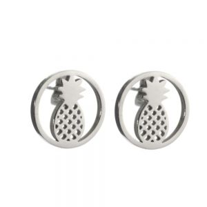 Stainless Steel Collection: Round Pineapple Design Earrings (U64)
