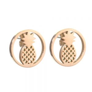 Stainless Steel Collection: Round pineapple Design Earrings in Rose Gold (U47)