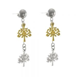 Stainless Steel Collection: Silver and Gold Tone Double Tree of Life Drop Earrings (Stud Fastening)