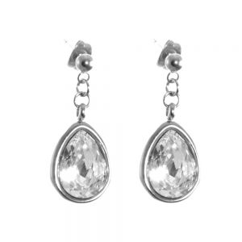 Stainless Steel Jewellery: Sparkly Crystal Teardrops (Stud Fastening Earrings)