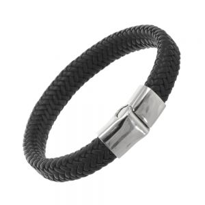 Stainless Steel Collection: Chunky Black Leather Woven Bracelet (U18)