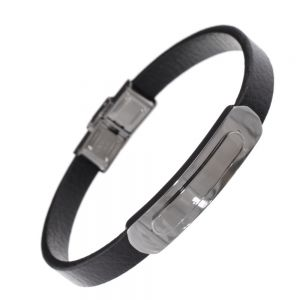 Stainless Steel Collection: Plain Black Strap Bracelet with Clip Fastening
