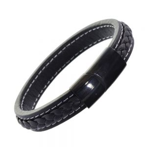 Stainless Steel Collection: Chunky Black Leather Bracelet with Black Hematite Clasp and White Stitching Details