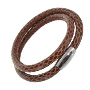 Stainless Steel Collection: Light Brown Patterned Leather Wrap Bracelet with Magnetic Fastening (U15)
