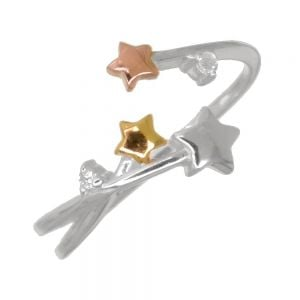 Celestial Sterling Silver: Open Ring Silver, Gold and Rose Gold Stars  (NOT ADJUSTABLE) (SR134)
