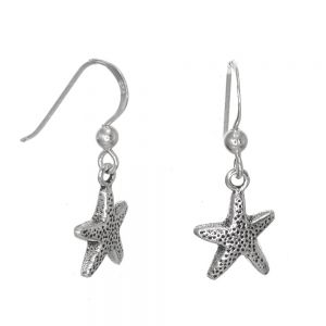 Nautical Sterling Silver JewelleryOxidised Starfish Dangly Earrings (10mm x 26mm) (E383)