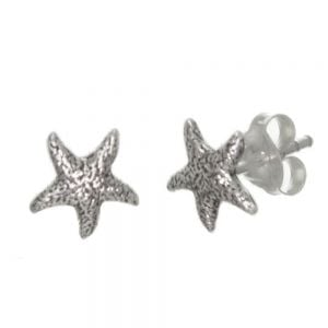 Nautical Sterling Silver Jewellery Oxidised Starfish Stud Earrings (8mm x 7mm) (E215)