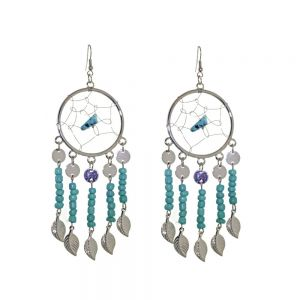 Statement Fashion Jewellery: Large Dreamcatcher Earrings with Turquoise Beads