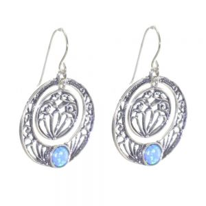 Boho Sterling Silver Jewellery: Round Statement earrings with Filigree Details and Blue Opal Centre