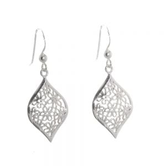Sterling Silver Filigree Style Floral Earrings