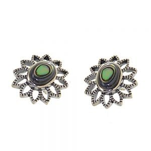 NEW Pretty Sterling Silver Jewellery: 17mm Flower Stud Earrings with Abalone Centres (E629a)
