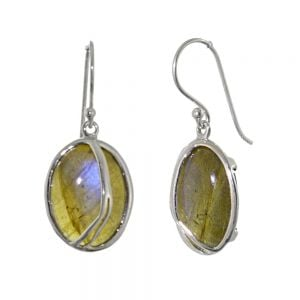 Stunning Sterling Silver Jewellery: Statement 20mm Oval Iridescent Labradorite Earrings with Flowing Silver Lines (E354)
