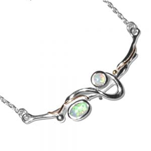 Flowing Sterling Silver Necklace With Blue And White Opalite stones