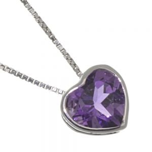 Pretty Sterling Silver Jewellery: Small 10mm Sparkly Amethyst Loveheart Pendant