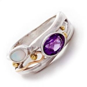 Sterling Silver Jewellery: Beautiful Amethyst and Opalite Ring