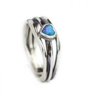 Aviv Sterling Silver Ring With Opal Heart