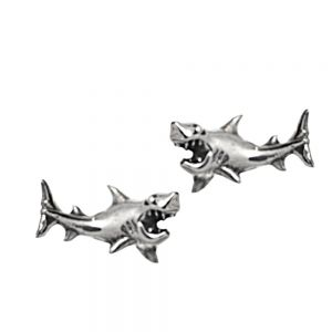 Under The Sea' Sterling Silver Collection:  Small Silver Fierce Shark Stud Earrings (5mm x 11mm)
