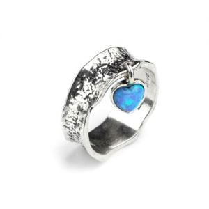 Aviv Sterling Silver Jewellery: Hammered Ring with Opal Heart Charm