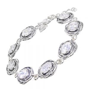 Fabulous Sterling Silver Jewellery: Aviv Bracelet with Wire-Wrapped Design Crystals